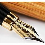 Bambú Pluma Estilográfica con Conversor de Recarga de Tinta y Caja Regalo - El Conjunto de Pluma Caligráfica para Escribir con la Mejor Signatura Ejecutiva usando Cartuchos Estándar - Garantía del 100%