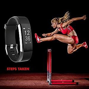 Discreta–Rastreador de fitness con frecuencia cardíaca NAKOSITE ram2433Actividad tracker Reloj de pulsera podómetro, calorías, dormir, distancia, deportes reloj. Bluetooth 4.0para Android 4.4o iOS 7.0y superior. SMS