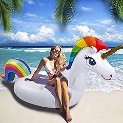 Idea Regalo - SUNNOW Unicorno Gonfiabile - Galleggiante Piscina, Materasso Gonfiabile Unicorno,Unicorno Gonfiabile Gigante Gonfiabile Giocattolo Adatto per Bambini e Adulti Giocattolo in Mare (Unicorno)
