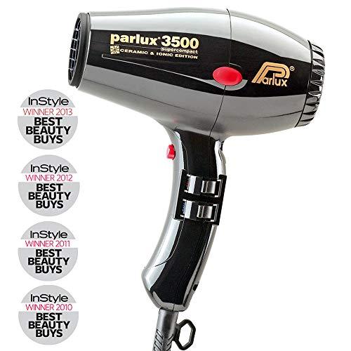Parlux 3500 Super Compact Secador de pelo de cerámica con iones, 2000 W, Negro