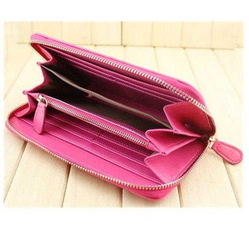 EVTECH(TM) Nouveau livre de style feuille rabat fermeture magnétique bourse de portefeuille de carte de portefeuille de crédit de carte d'identité Slots Rose PU cuir protecteur de la pea
