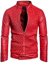 Bravoy Männer Casual Slim Fit Lederjacke Stehkragen Motorrad Reißverschluss  Kunstleder Outwear Mantel für Männer 9a0538a2ae