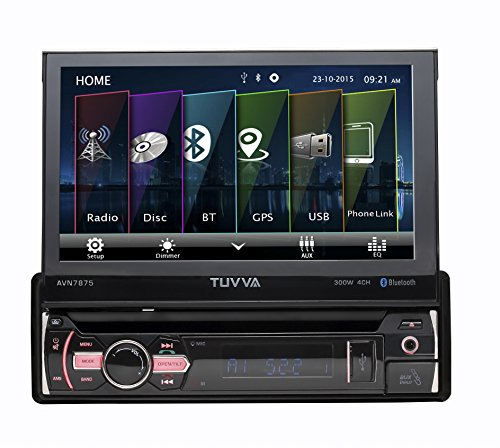 TUVVA AVN7875 7' Sinle DIN Car Stereo Touch Screen GPS Navigation, DVD/ CD/ USB/ AUX-IN/ PhoneLink/ RDS/ Remote Control