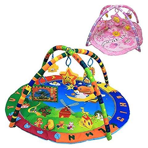Monsieur Bébé ® Tapis d'éveil éducatif et musical + jouets - Deux modèles - Norme (Parco Specchio Rotondo)