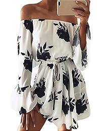 AKABELA Moda Vestido Corto de Verano Mujer Fuera de Hombro Mangas Volantes Floral Cintura Alta Traje de Fiesta Cóctel Playa Casual Elegante