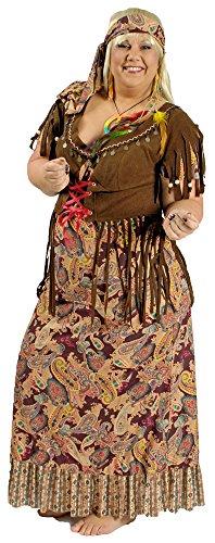 Hippie Retro Kostüm Sunny Damen für große Größen Gr. 44 46 - Schönes Damen Kostüm in XXL für Karneval, Festival oder Mottoparty