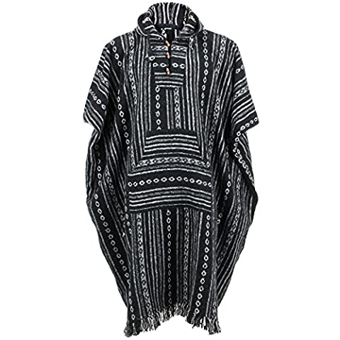 LoudElephant Brushed Cotton Long Hooded Poncho - Black Diamond