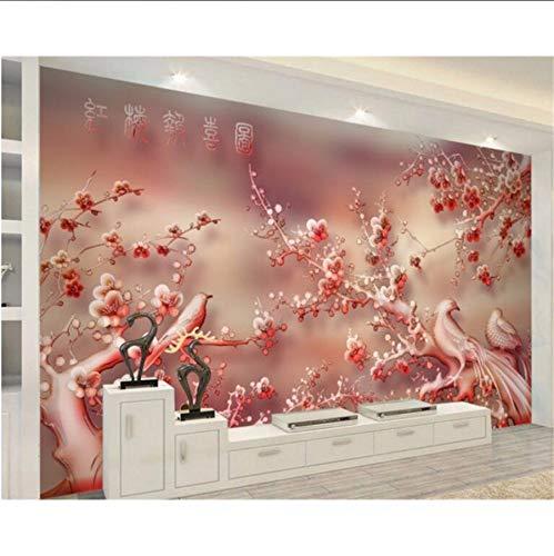 Pmhhc Personnalisé Photo Papier Peint Peintures Murales 3D Jade Sculpture Prune Rouge Paysage Mur...