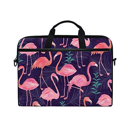 Ahomy Laptop-Tasche, 14 Zoll (35,6 cm), Aquarell, Tropische Flamingo-Vogel-Blätter, Segeltuch, Laptop-Tasche mit Schultergurt für Damen und Herren -