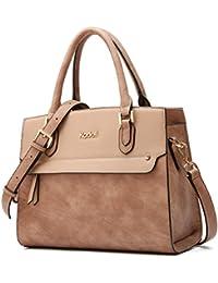 Kadell Women'S Vintage Leather Handbags Tote Satchel Shoulder Bag Top Handle Purse Light Brown