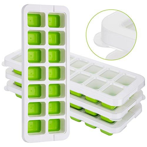 ?Neues Design Deckel?4 Stücke TOPELEK Eiswürfelform, Einfache Entfernung der Eiswürfelformen, 14 Eiswürfel, Halten Sie das Getränk kühl, LFGB zertifiziert, lebensmittelechtes Material