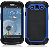 SOOPER Blue Defender Heavy Duty Protective Hard Full Body Cover Case for Samsung Galaxy i9300 S3 + Free Screen Protector (Blue)