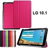 LG Pad II 10.1'' Carcasa,Ultra Delgado Ligero Protección Funda de Cuero Piel Book Cover Smart Case para LG G Pad II 10.1'' Pulgadas V940 Funda Carcasa Caso con Soporte-Hot Rosa