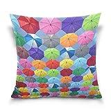 Überwurf Kissenbezüge Fällen quadratisch doppelseitig bunt gelb blau rot lila pink grün Regenschirme zum Aufhängen auf bunte Saiten unter Sky 40,6x 40,6cm unsichtbar Reißverschluss Home Decor für Schlafcouch 18 x 18 Inches Image85581