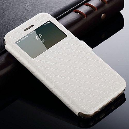 L-FADNUT Étui à rabat en cuir synthétique pour iPhone Fenêtre sur écran, fonction support, fente pour carte et fermoir , Silicone, noir, iPhone 5/iPhone 5s blanc