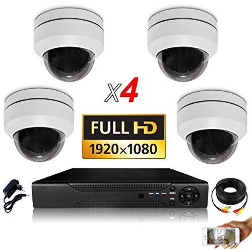 Kit Videoüberwachung, 4 motorisierte PTZ Zoom X4-2000 GB, inkl. 2 Kabel mit 40 m + 2 x 20 m, Display 22 Zoll, DVR AHD 8 8 Wege - Mit Dvr Ptz