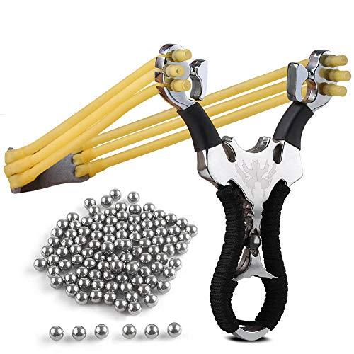 Sports Funshop Set Profi Steinschleuder aus Stahl und mit Griff und Gummiband + 106 Stahlkugeln Munition