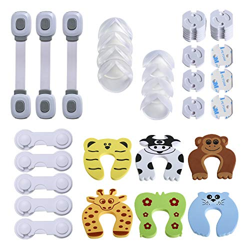 Kinder-Sicherheitsset (43-tlg.), Erstausstattung Baby, 20x Steckdosenschutz, 8x Eckenschutz, 7x Klemmschutz für die Tür, 5x Schranksicherung, 3x Universalsicherung (43-tlg.)