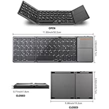 "Teclado Bluetooth plegable e inalámbrico, con Touchpad Ultra Slim.Compatible con Windows, Android y iOS, Smart Phone y TV deep gray Folding:5.98""*3.82""*0.71"", Open:11.89""*3.82""*0.2"""