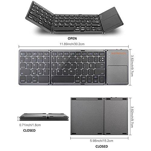 astatur mit Touchpad Bluetooth Wireless Ultra Slim Tastatur faltbar für Reisen mit Big Shift Key Pocket Größe, für PC, Tablets, Smart Telefon, TV, Schwarz (WSTECHCO) (Bluetooth Slim Touchpad)