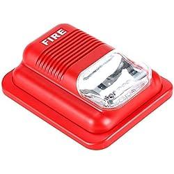 Lifesongs Sirena de alarma de incendio Strobe, alarma de incendio con luz estroboscópica Sistema de seguridad de alerta de sonido Sensor