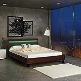 MIADOMODO Kunstlederbett 180 x 200cm mit Lattenrost und LED-Beleuchtung, in Dunkelbraun   Doppelbett, Bettgestell, Polsterbett, Bettrahmen