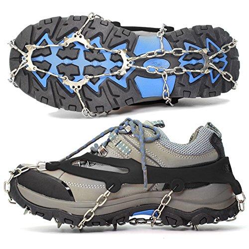Steigeisen (1 Paar), Aodoor Schuh Spikes Silikon Schneeketten mit 10 Zähne Edelstahl, Anti Rutsch Spikes für High Altitude Wandern Eis Schnee, Größe L (43-46 EU)