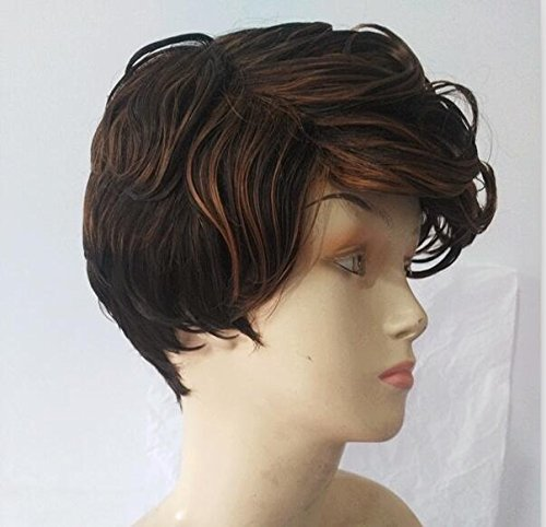 Donna parrucca marrone parrucca sintetica corta naturale ricci parrucca sintetica fabulous naturale come veri capelli partito parrucca