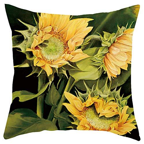 Xmiral Kissenbezüge Kissenhüllen Sonnenblume Gedruckte Kurzer Plüsch Kopfkissenbezug 45x45cm(D)
