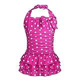 iEFiEL Badeanzug für Mädchen, Vintage Klassiker Bademode mit Polka Dots Rockabilly Bikini Anzüge Beachwear Badekleid Gr. 98-164 Rose 158-164