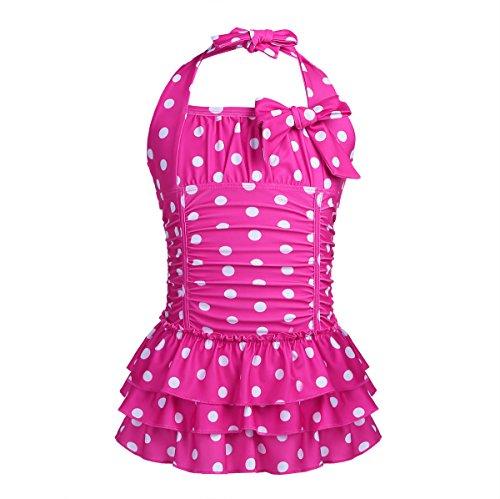 iEFiEL Badeanzug für Mädchen, Vintage Klassiker Bademode mit Polka Dots Rockabilly Bikini Anzüge Beachwear Badekleid Gr. 98-164 Rose 146-152