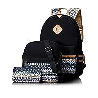 Leaper Casual Canvas School Backpack Shoulder Bag Pencil Bag Purse 3PCS Black