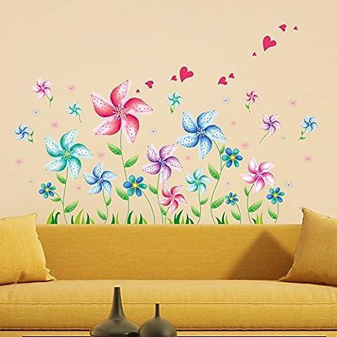 ufengke® Creativos de Dibujos Animados Molino de Viento Flores Pegatinas de Pared, Sala de Estar Dormitorio Removible Etiquetas de la Pared Murales
