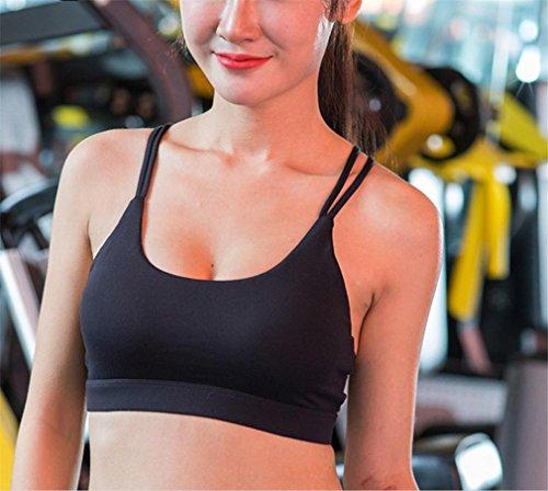 HAPPYMOOD Femme Sports Bra Entraînement à impact élevé Rembourré Fonctionnement Yoga Bra Aptitude Gym Wear noir