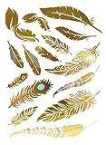 15 Tatouages éphémères métallique Waterproof -Tatoo temporaire Or - Bijou de Peau Plume Turquoise