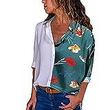 ITISME FRAUEN BLUSE Damen Casual Langarm Farbblock Streifen Button T Shirts Tops Bluse (S, Grün21)