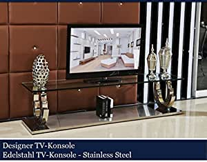 designer tv konsole edelstahl konsolentisch tisch glastisch glas hochglanz 200cmx45cmx42cm. Black Bedroom Furniture Sets. Home Design Ideas