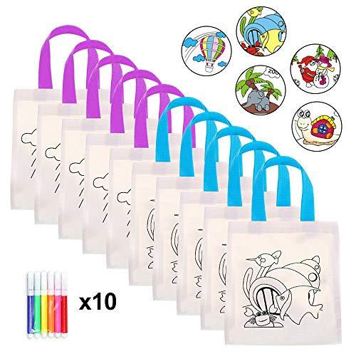 MelkTemn DIY Kinder Tasche zum Selber Bemalen Kinder, 10 Sets mit 6 Farbigen Wachsen, Für Kindergeburtstag Gastgeschenke und Kleine Geschenke für Kinder