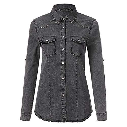 Damen JeansHemd, LeeMon Frauen Lässige Denim Langarm Pullover Bluse Shirts T-Shirt Top Bluse Western Hemd (Schwarz, L)