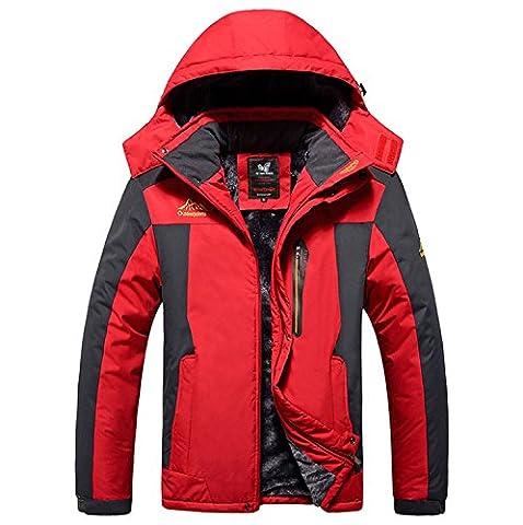 Outdoor Waterproof Warm Men's Jackets Raincoat Épaississement Windproof Nouveau design Sportswear Softshell Camping Randonnée Mountaineer Voyage Automne et Hiver ( Color : Red , Size : 8XL )