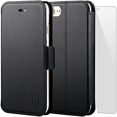 TANNC Funda iPhone 7 Funda Apple iPhone 7 con Protector de Pantalla de Vidrio Templado Slim Case de Estilo Billetera con Ranuras para Tarjetas, Soporte Plegable, Cierre Magnético para iPhone 7 - Negro