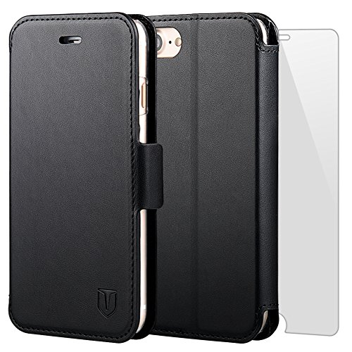 TANNC Cover iPhone 7 Plus [pellicola vetro temperato schermo inclusa] Custodia in Pelle Case Con Magnete e Supporto Orizzontale - Nero - Inoltre La Posta