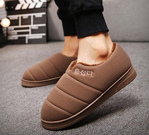Icegrey Coton Chaussures Rembourrées Peluche Maison Plat Pantoufles Chaussons Couples Amoureux Marron