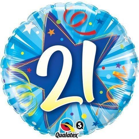 Qualatex Leuchtender Stern Blau Alter 21/21st Geburtstag 18