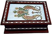 angira handicrafts Choclate Marble Design Wood Jewellery Box