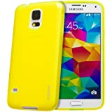 Juppa® Samsung Galaxy S5 SM-G900F TPU Gel Case with Screen Protector, Micro Fibre Cleaning Cloth and Application Card (Yellow)