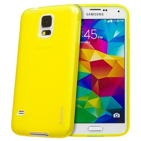 Juppa® Samsung Galaxy S5 TPU Silikon Tasche Hülle Schutzhülle mit LCD displayschutzfolie und Mikro-Reinigungstuch (Gelb / Yellow)