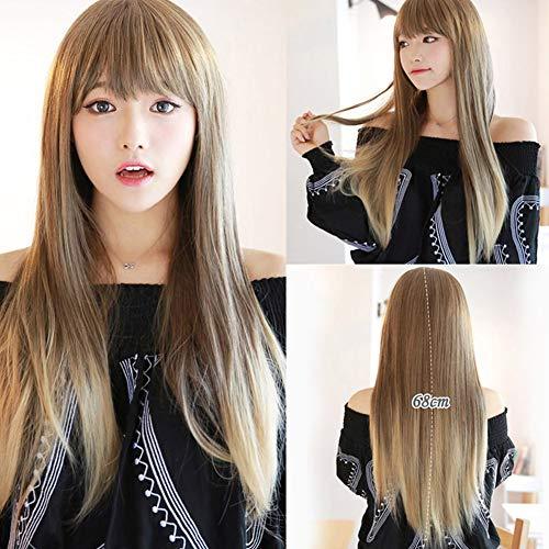 Perücke 70cm Langes Glattes Schwarz Perücke Haar für Damen Frauen Hitzebeständige Synthetische Cosplay Halloween