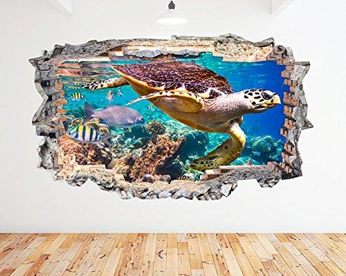 K170Schildkröte Aquarium Fish Ocean Sea Coral Wand Aufkleber 3D Poster Art Aufkleber Vinyl Zimmer (Riesige (100x - Fish Ocean Tank