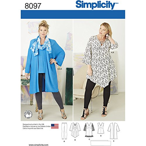 Simplicity Plus Size Tunic/Top/Kimono and Knit Leggings Sewing Pattern, Paper